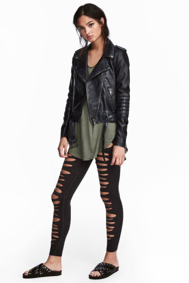 Jersey leggings Ripped - Black washed out -  | H&M