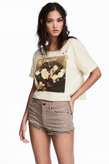 Cropped wide printed T-shirt - Light beige/New Order - Ladies | H&M 1