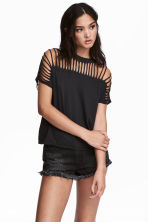 Ripped jersey top - Black - Ladies | H&M CN 1