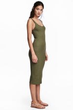 Ribbed dress - Dark olive green - Ladies | H&M CN 2