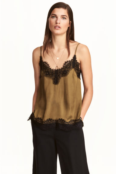 Satin strappy top with lace - Khaki - Ladies | H&M GB 1