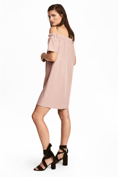 Off-the-shoulder dress - Powder pink -  | H&M