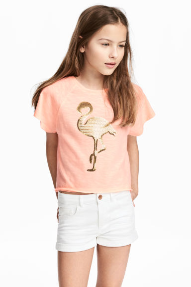 Short-sleeved jersey top - Apricot - Kids | H&M CA 1