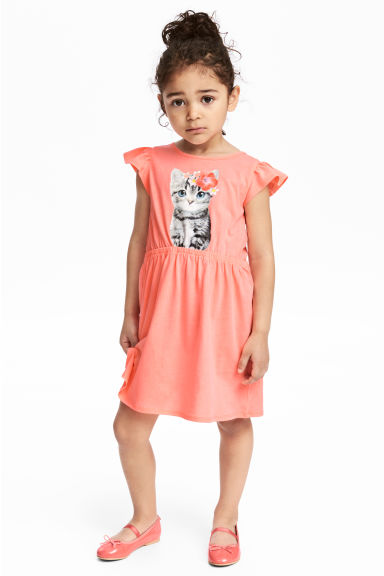 Printed jersey dress - Coral pink/Cat -  | H&M CA 1