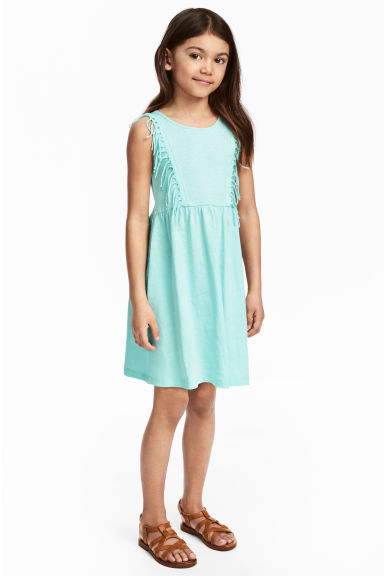 Jersey dress with fringes - Mint green - Kids | H&M CN 1
