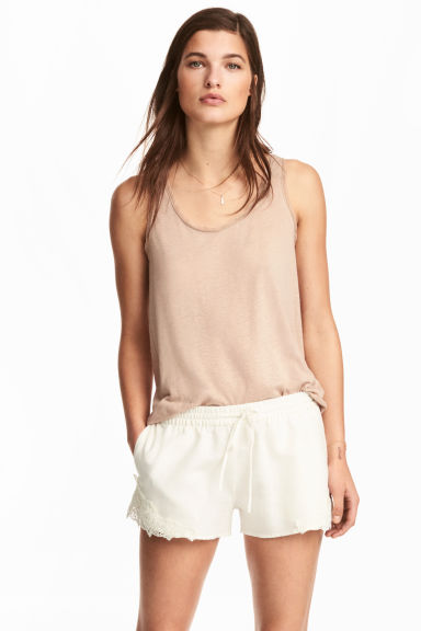 Canotta con bordi in pizzo - Beige - DONNA | H&M IT 1