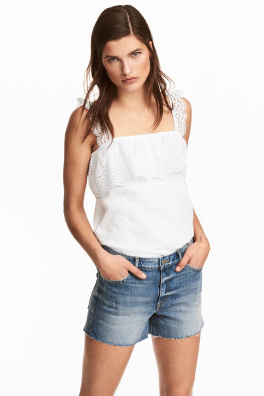 Top with broderie anglaise - White - Ladies | H&M CA 1