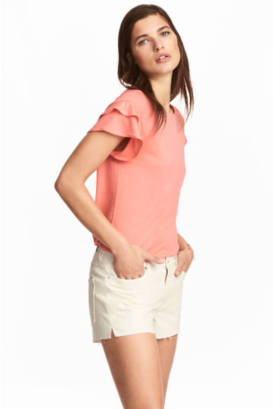 Top with flounced sleeves - Coral - Ladies | H&M 1