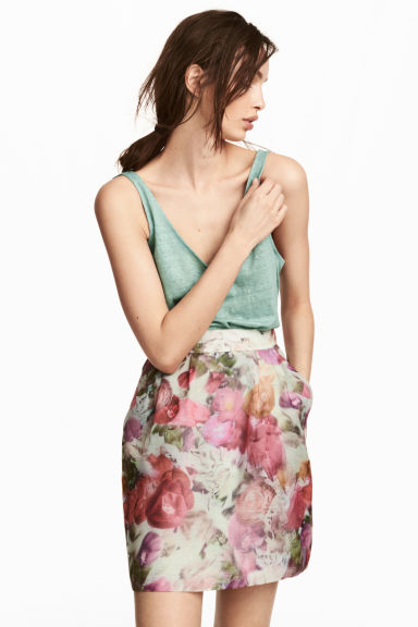 Patterned skirt - Natural white/Floral - Ladies | H&M CN