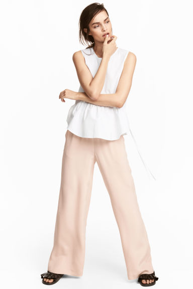 Wide silk trousers - Powder pink -  | H&M CA