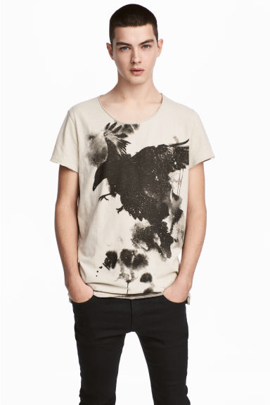 Printed T-shirt - Light beige/Birds - Men | H&M