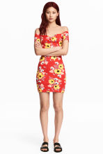 Off-the-shoulder dress - Red/Floral - Ladies | H&M CN 1