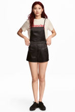 Satin dungaree shorts - Black - Ladies | H&M 1