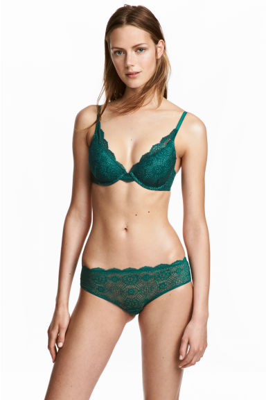 Lace hipster briefs - Emerald green - Ladies | H&M CN