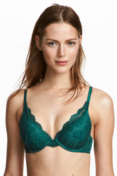 Lace push-up bra - Emerald green - Ladies | H&M 1