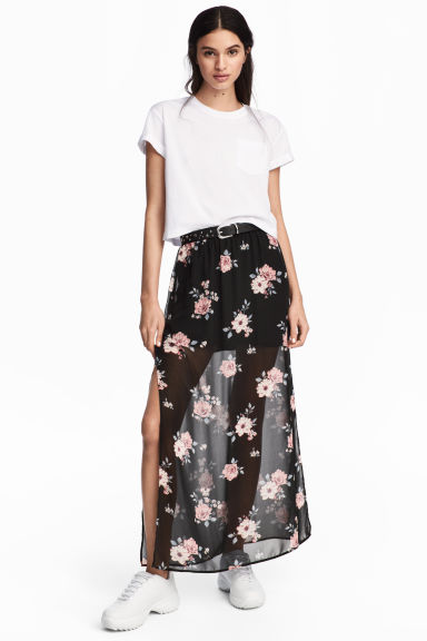 Long skirt - Black/Floral - Ladies | H&M 1