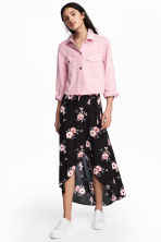 Long wrapover skirt - Black/Floral - Ladies | H&M 1