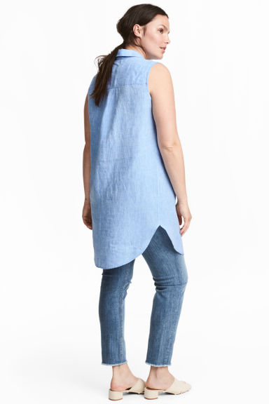 H&M+ Sleeveless linen tunic - Light blue marl - Ladies | H&M GB