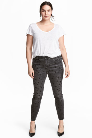 H&M+ Stretch trousers - Black/Patterned - Ladies | H&M