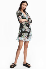 Abito incrociato - Nero/fiori - DONNA | H&M IT 2