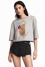 Cropped top - Grey marl/Tiger - Ladies | H&M 1