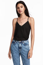 V-neck strappy top - Black - Ladies | H&M 1