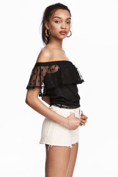 Spotted mesh top - Black -  | H&M