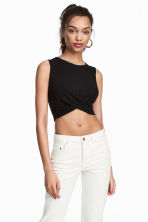 Draped jersey top - Black - Ladies | H&M 1