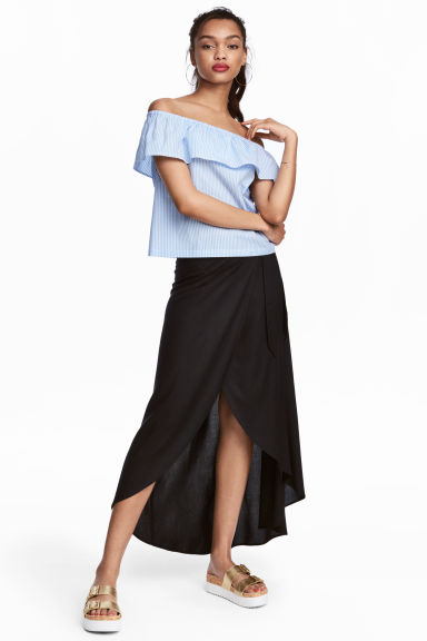Long wrapover skirt - Black - Ladies | H&M CN 1