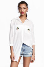 Shirt with appliqués - White/Palms - Ladies | H&M 1