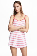 Patterned playsuit - White/Red stripe - Ladies | H&M 1
