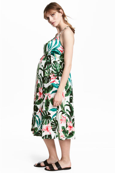 MAMA Jersey dress - White/Leaf - Ladies | H&M