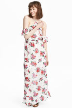 Long chiffon dress - Natural white/Floral - Ladies | H&M 1