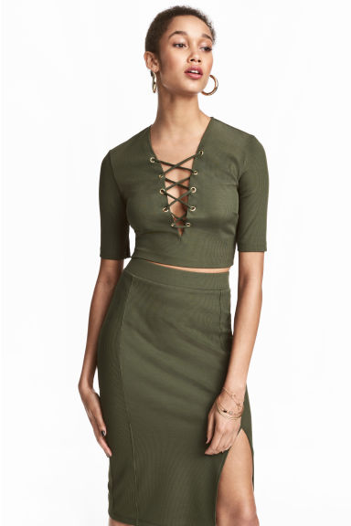 Top with lacing - Khaki green - Ladies | H&M 1