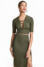 Top with lacing - Khaki green - Ladies | H&M CA 1