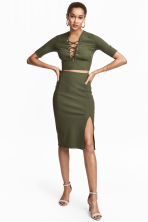Ribbed jersey skirt - Khaki green - Ladies | H&M 1