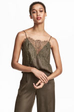 Lace-trimmed top - Khaki green -  | H&M 1