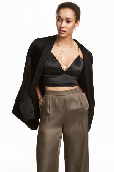 Short satin strappy top - Black - Ladies | H&M CN 1