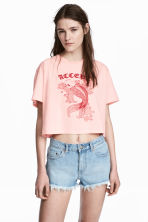 Cropped T-shirt - Light pink/Fish - Ladies | H&M CN 1