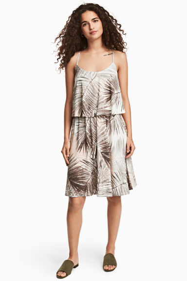 Jersey dress - Natural white/Leaf - Ladies | H&M CN 1