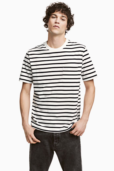 T-shirt - White/Dark blue/Striped - Men | H&M CN 1