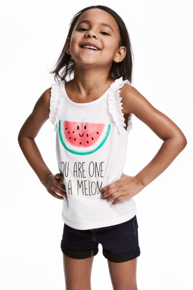 Sleeveless top - White/Watermelon -  | H&M