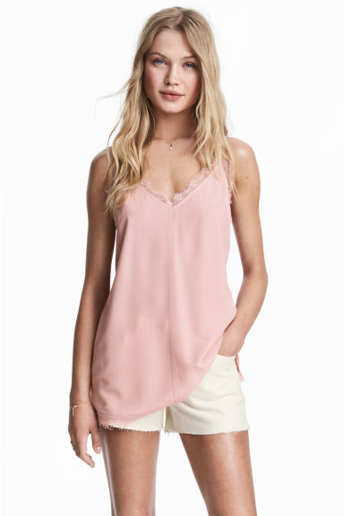 Strappy top with lace - Light pink - Ladies | H&M 1