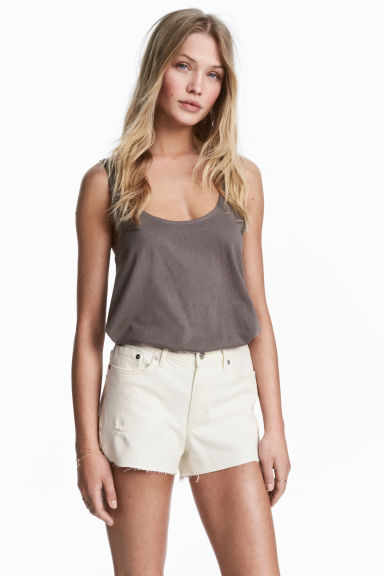 Cotton jersey vest top - Mole -  | H&M 1