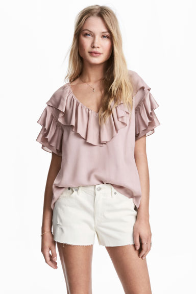 Frilled top - Powder pink - Ladies | H&M CN 1