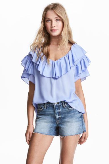 Frilled top - Light blue - Ladies | H&M 1