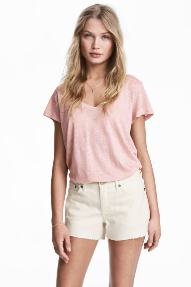 V-neck linen top - Light pink - Ladies | H&M CN 1