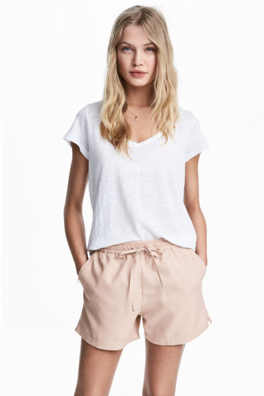 V-neck linen top - White - Ladies | H&M 1