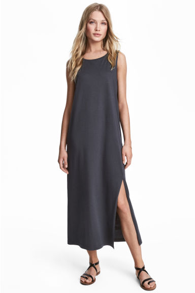 Long jersey dress - Dark grey -  | H&M 1