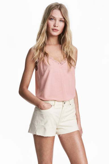 Denim shorts - Natural white denim - Ladies | H&M
